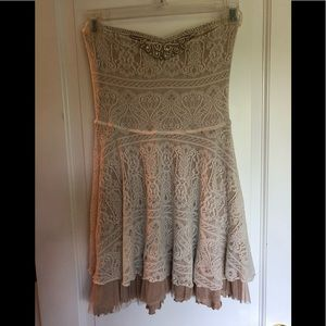 Free People Ivory Cream Lace Strapless Dress S